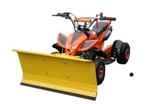 Kinderquad Orange mit Schneeschieber / Max. 55 km/h / 3,5 PS / 49 cm³ / 2-Takter / 1-Zylinder / Automatik / Luftgekühlt / Seilzug-Starter / Ketten-Antrieb / Schneeschild Schneeräumer Quad ATV -