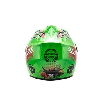 ARROW HELMETS AKC-49 Green Moto-Cross-Helm Cross-Helm Kinder-Cross-Helm Helmet Sport Junior Kids Quad Pocket-Bike Enduro MX Motorrad-Helm Cross-Bike Kinder-Helm, DOT zertifiziert, inkl. Stofftragetasche, Grün, M (55-56cm) - 4