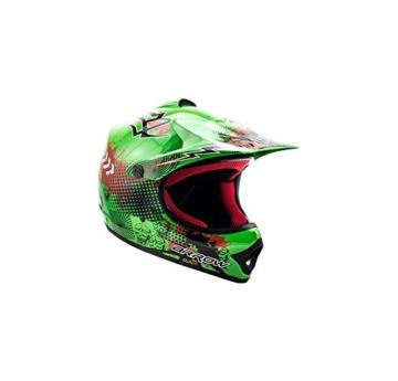 ARROW HELMETS AKC-49 Green Moto-Cross-Helm Cross-Helm Kinder-Cross-Helm Helmet Sport Junior Kids Quad Pocket-Bike Enduro MX Motorrad-Helm Cross-Bike Kinder-Helm, DOT zertifiziert, inkl. Stofftragetasche, Grün, M (55-56cm) - 1