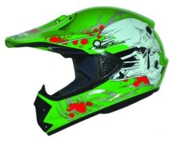 ATO Kids Pro Kinder Crosshelm Grün Größe: S 55-56cm Kinderhelm Kinder Cross BMX MX Enduro Helm - 1