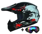 ATO Moto Kids Pro Kinderhelm in Schwarz inklusive MX Motorrad Brille - 1